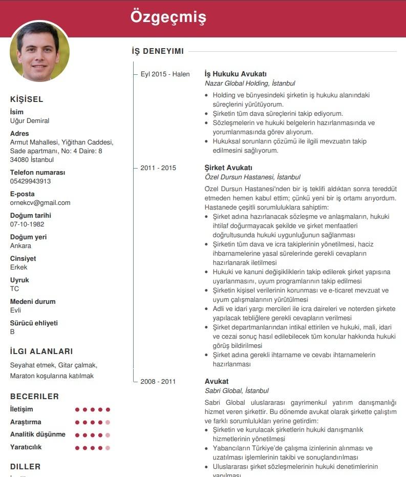 CV Ornek Avukat class=